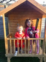 The girls in Charlotte's new playhouse