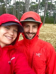 Matching red raincoats for Canada