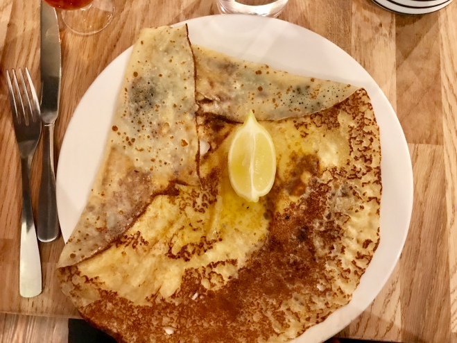 A crêpe with butter and lemon- my absolute favourite